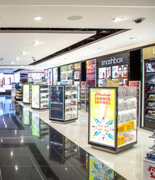 Factory Supply Modern Cosmetic Display Cabinet And Counter For Airport  Duty Free Store Design