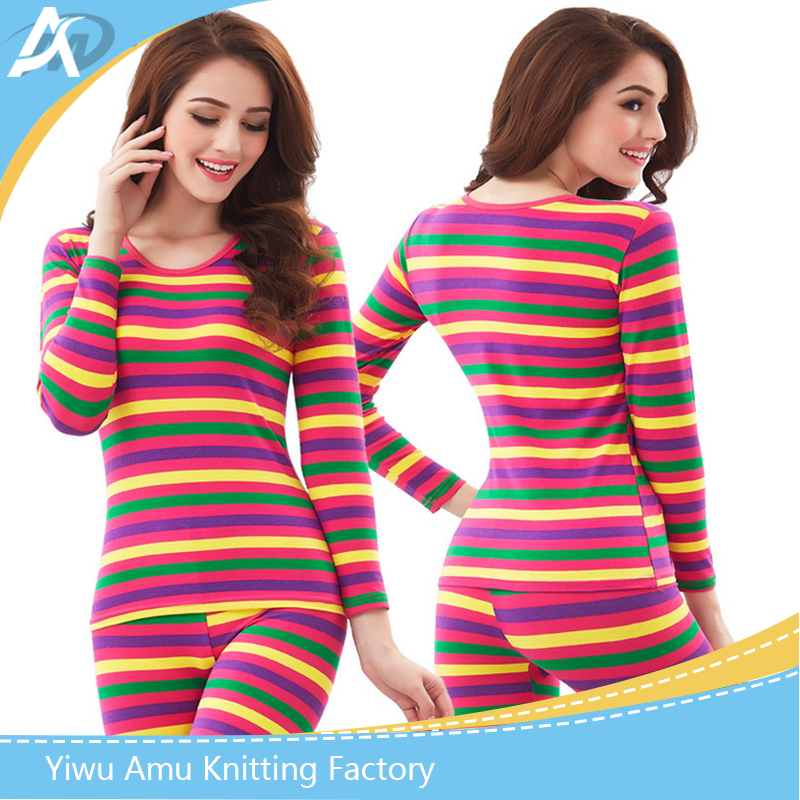 100% cotton wholesale new fashion long sleeve women thermal underwear