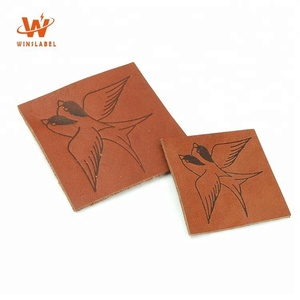 High Quality Embossed Logos Natural Garment Sew on Badges Small Leather Patches for Clothing and Car