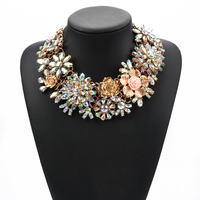 Wholesale Fashion Heavy Jewelry Choker Statement Crystal Flower Necklace QL395