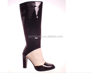 simple design lady knee boot black/pink
