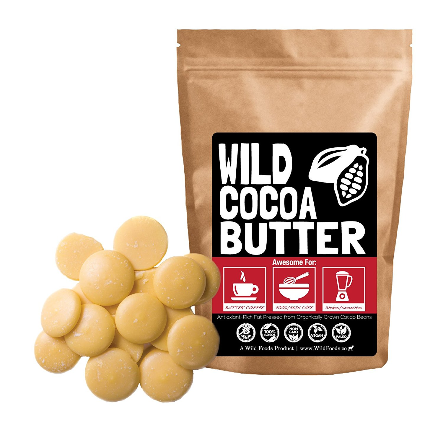 Raw Cocoa Butter Wafers From Organically Grown Cacao Beans, Unrefined, Non-Deodorized, Food Grade, Fresh For Recipes, Cooking, Smoothies, Coffee, Skincare, Haircare (8 ounce)