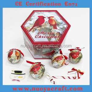 7.5cm Red birds patterned ball for Xmas ornament