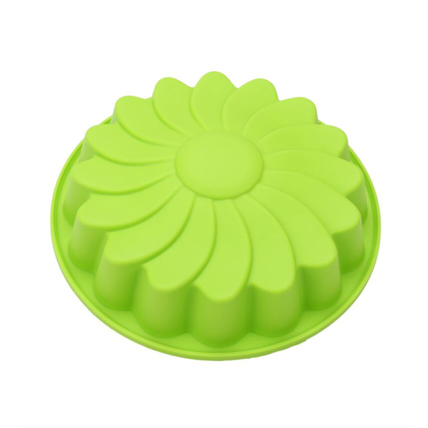TG499 Medium Size Round 3D Flower Cake Pans Food Grade Silicone Baking Molds For High Temperature Oven