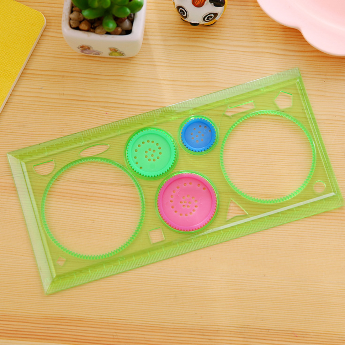Fangnymph Creative Candy Color Multi-function Puzzle Flowers Ruler Transparent Spirograph Geometric Ruler Student Drawing Ruler Office & School Supplies Math Sets