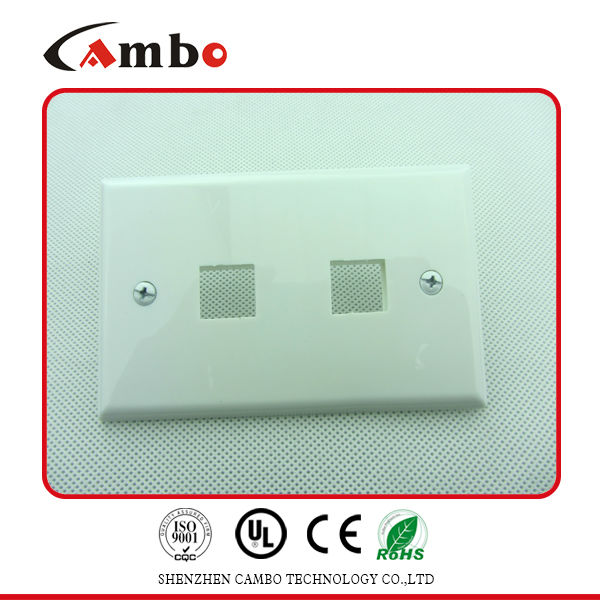 Cat5e Cat6 Germany Network RJ45 Dual Port Faceplate With Shutter Bevelled Wall Outlet 2 Ports