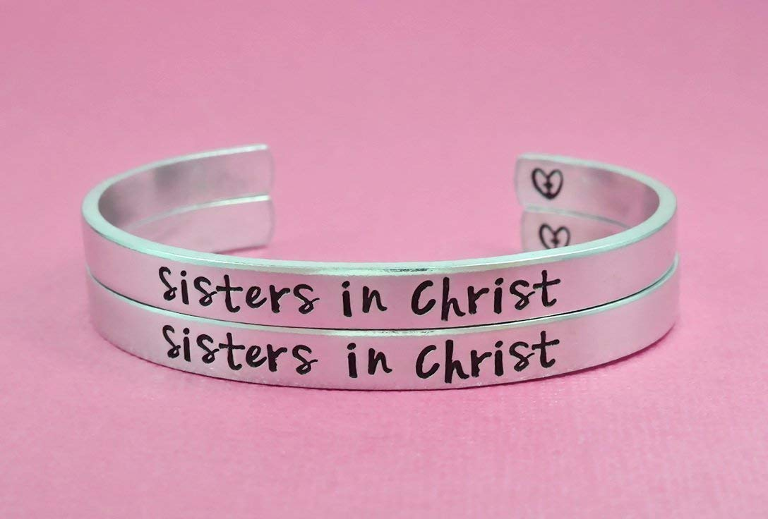 Sisters in Christ - Hand Stamped Aluminum Cuff Bracelets Set of 2, The Church Sisters Bracelets, Religious Jewelry, Cross Heart Bracelets