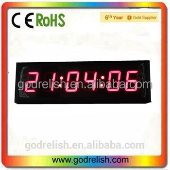 "Large Wall Clock 3"" High Character 6 Digits Red Color LED Digital Clock 12/24-Hour Display Real Time Clock Support Countdown/up"
