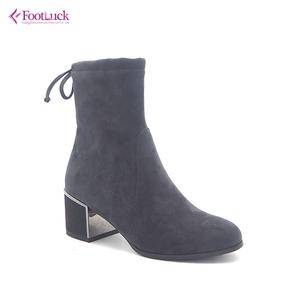 b888ca9151c Grey suede block mirror-heel catch booties with ankle tie women ladies  winter boots shoes