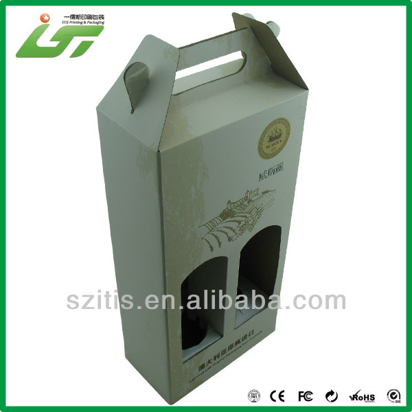 with paper handle kraft and corrugated paper carton box for packaging red wine