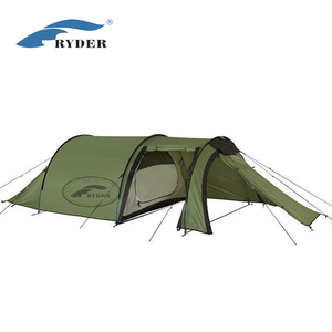 Waterproof Fireproof Aluminum Custom Printed Outdoor Equipment 3 Person Luxury Hiking Tunnel Large Tent Camping