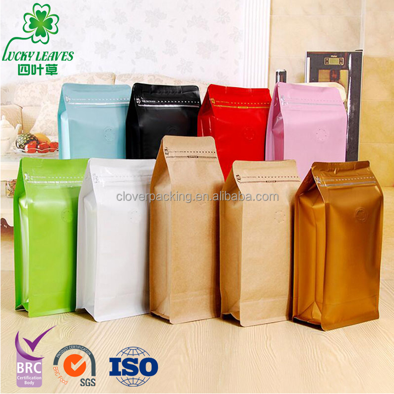 custom top sell degassing Valve Zip Lock Kraft Paper Coffee Bags /Printed 8 side sealed zipper packaging bag for coffe powder