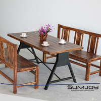 SUMJOY Best seller high quality natural solid pine wood table top live edge slab