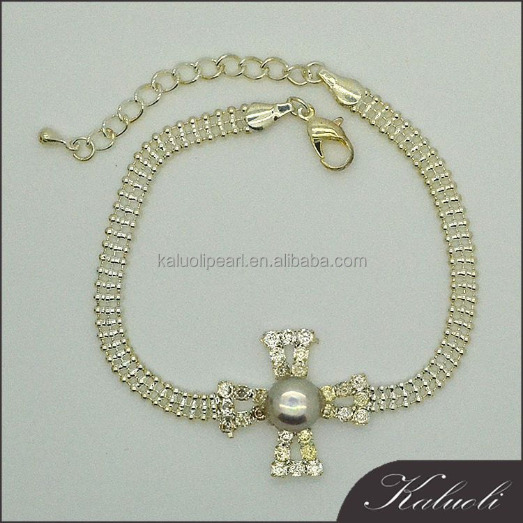 Rhinestone 10-11mm real pearl bezel bracelet china jewelry sale bulk