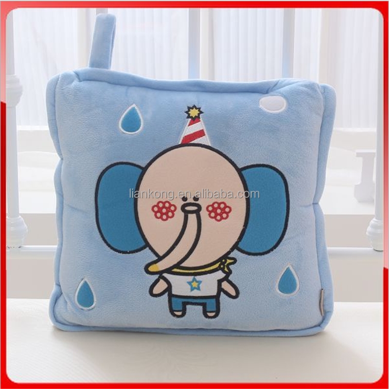Cartoon style soft 2 in 1 pillow blanket for children sleeping