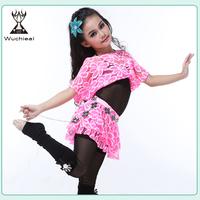 Wuchieal Top Grade Lace Children Ballroom Dance Wear, Belly Dance Costume for Kids