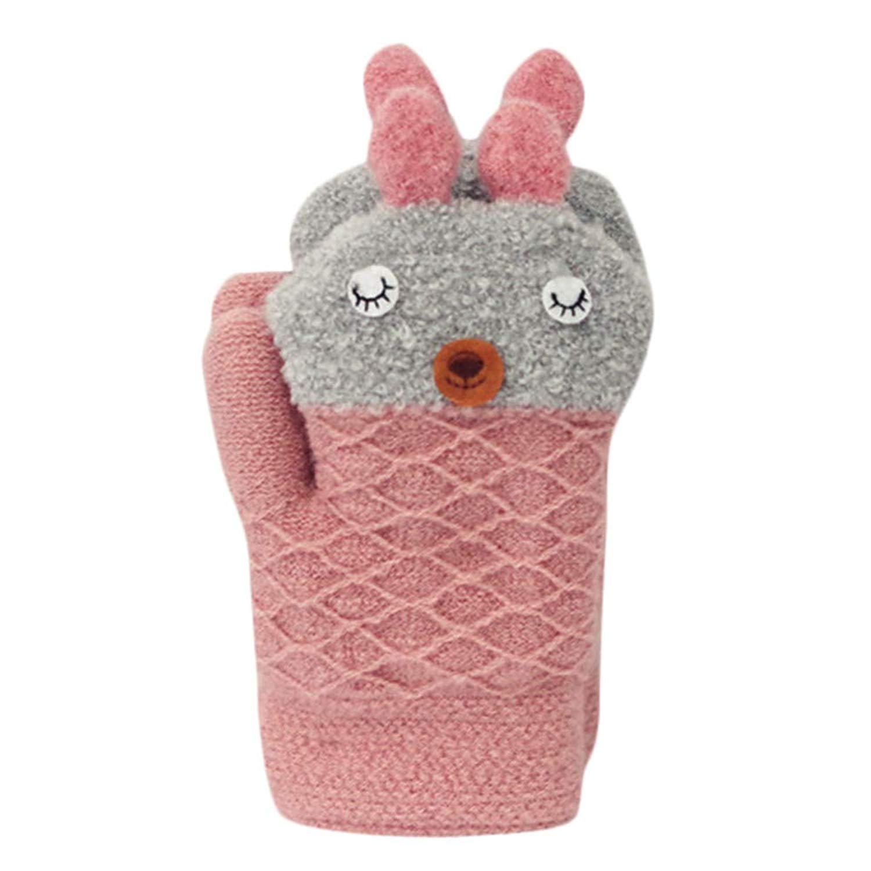 Shybuy Toddler Kids Winter Warm Thick Full Finger Gloves Children Cute Cartoon Soft Mittens