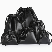 Drawstring Bag Black Small Jewelry PU Leather Pouch