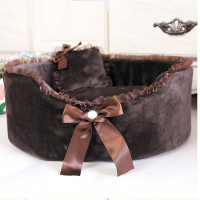 New Soft Warm coffee Bowknot Pet Kennel lucky Dog Cat Bed For Dog bed products