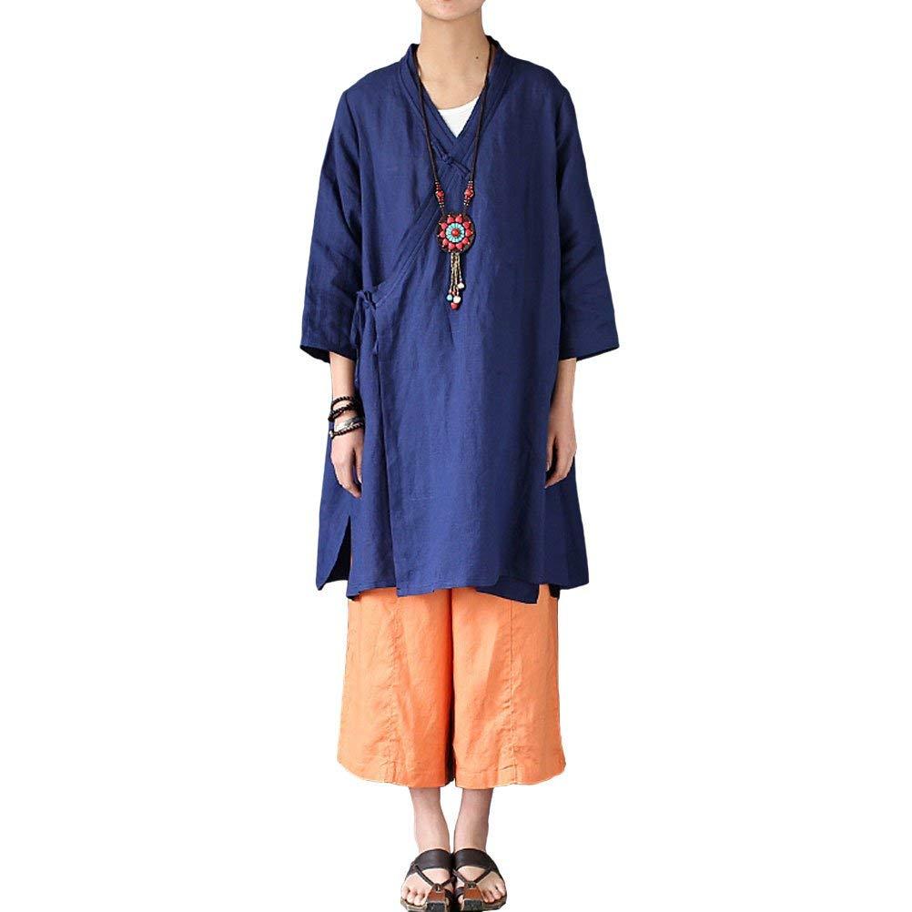 1670b5068016 Get Quotations · Aeneontrue Women s Half Sleeve Linen Irregular Long  Cardigans Coat Blouses