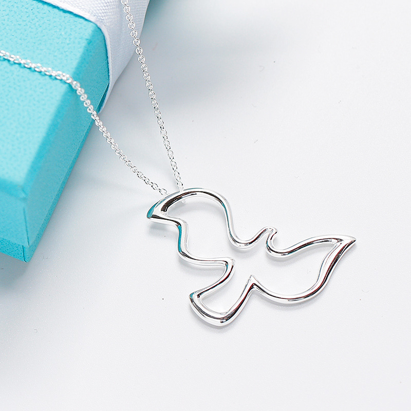 Brand jewelry hollow out peace dove pendant necklace in 925 sterling silver