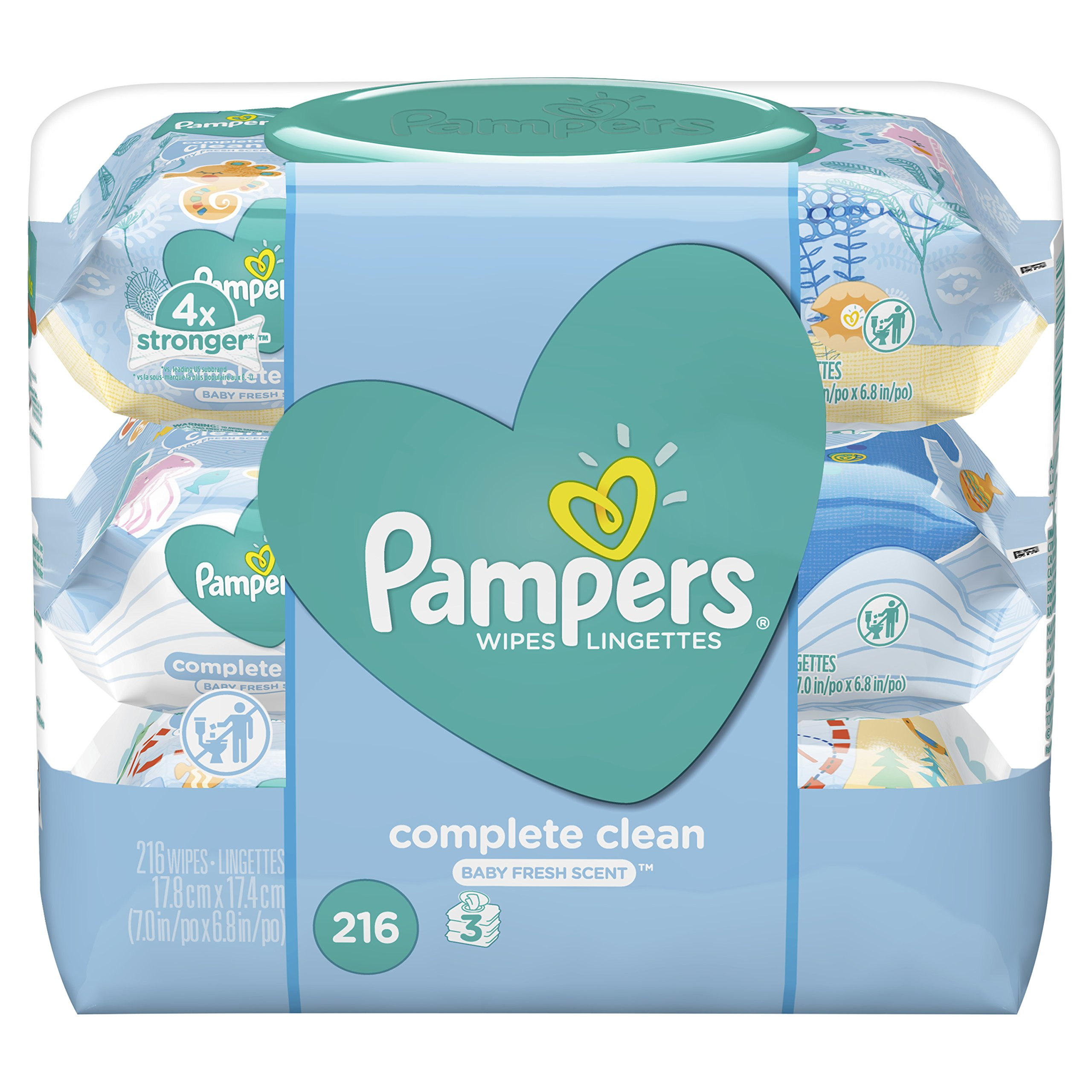 Pampers Complete Clean Scented Baby Wipes 3X Pop-Top Packs, 216 ct