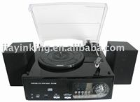 gramophone phonograph 3 speed LCD display external speaker AM/FM USB SD card turntable cd record cassette radio player