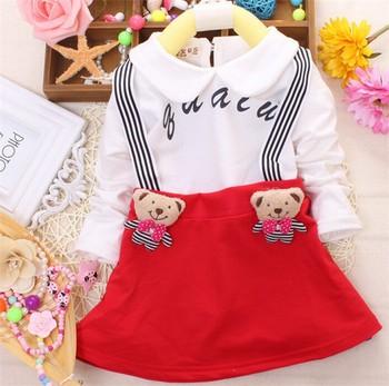 7389e6ab411d korean little girl casual school wear bear decoration popular school dress  cute little girl dress suit