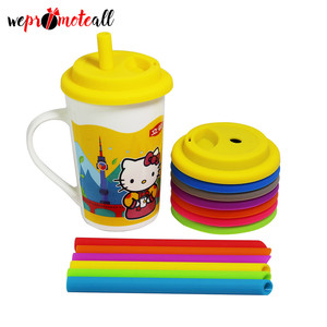 Custom Logo Silicone Coffee Cup Lid Sleeve Cover With Straw Hole