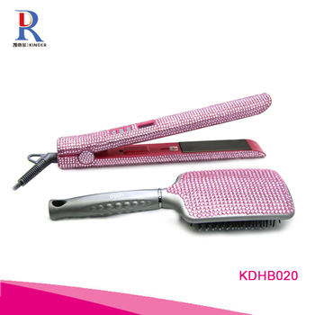 New design magic crystal rhinestone hair straightener wholesale hot pink custom private label hair flat iron with brush