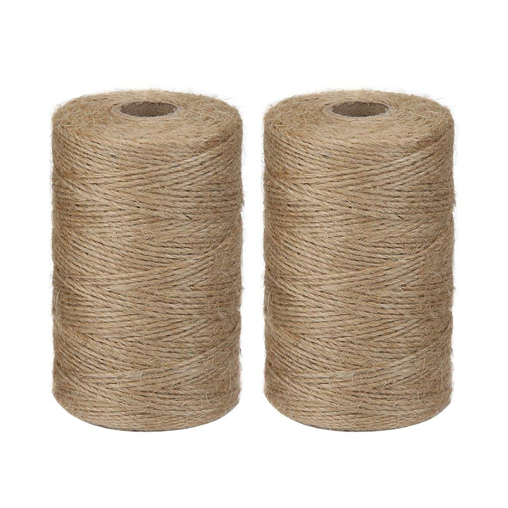 Vivifying 2pcs x 656 Feet Natural Jute Twine, Biodegradable 2Ply Garden Twine for Photos, Gifts, Crafts (Brown)