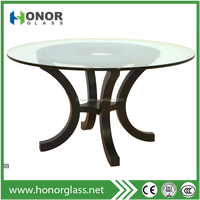 tempered 60'' round glass top rotating dining table