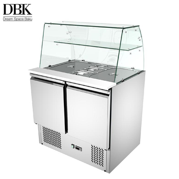 Factory direct sale stainless steel salad display pizza prep table refrigerator with glass