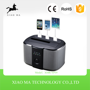 2.5 3.5 SATA USB3.0 Dual External HDD Enclosure Hard Disk Drive Twin Docking Station with three charging ports XMR-YP19
