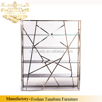Rectangle High Gold Stainless Steel Wine Display Rack