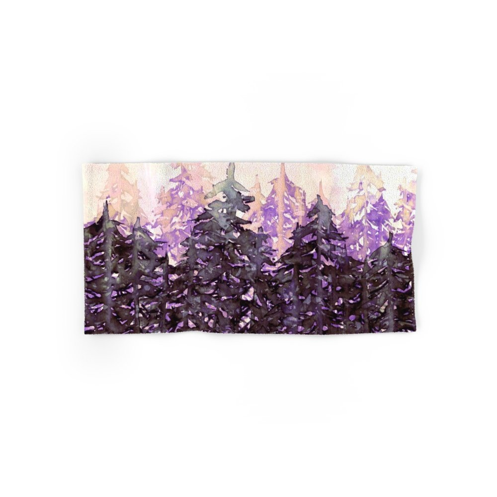 """Society6 NORTHWEST VIBES Colorful Watercolor Painting Forest Trees Violet Green Modern Nature Art West Coast Hand Towel 30""""x15"""""""