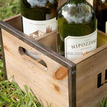 Free sample factory rustic 8 bottle wooden wine crate pine for Where to buy used wine crates