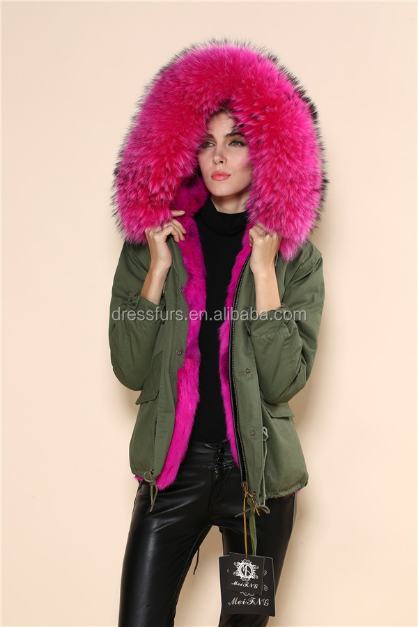 Gray/fuchsia/white/natural/blue/green Color Casual Style Fur Parka ...