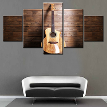 Modern Home Decor Framed 5 Panel Music Instrument Wooden Guitar Canvas Print Painting Wall Art For Living Room Modular Picture