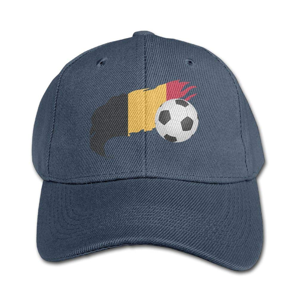 17e72282154 Get Quotations · KIDSCAP Soccer Ball with Belgium Flag Kids Adjustable  Snapback Curved Visor Washed Dyed Cotton Ball Hat