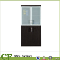 Italian Design Glass Door Tall Wood Filing Cabinet for Files Storage