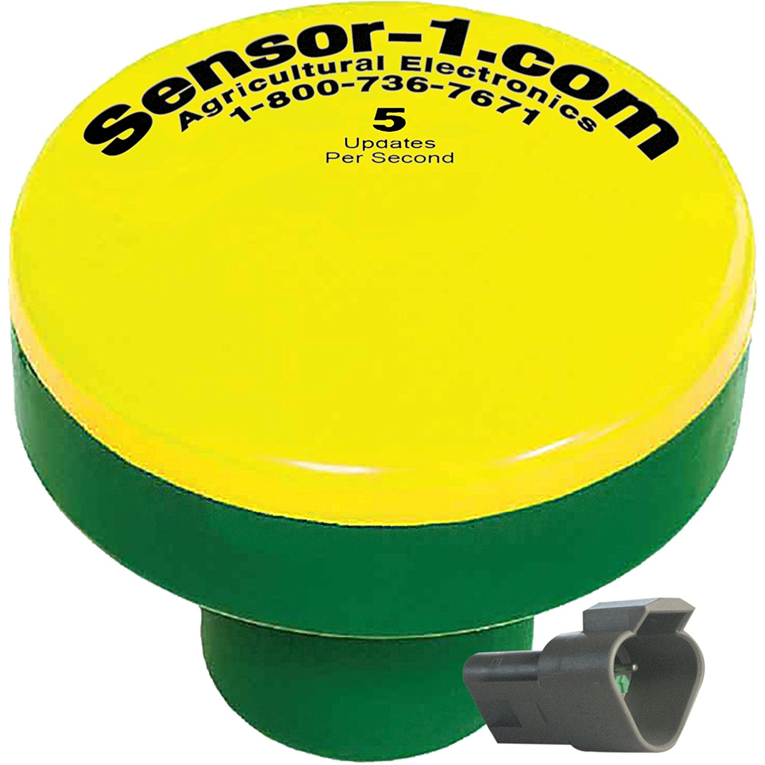 Sensor-1 DS-GPSM-TJ5-Y/G 5 Hz GPS Speed Sensor, Yellow Top and Green Stem Housing with Tee-Jet Connector