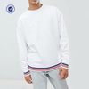 High Quality 100%Cotton Fabric Crewneck Man Sweatshirt Stripe Cuff And Hem Design Sunshine Boys White Sweatshirt