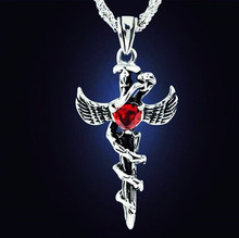 Custom Jewelry Fashion Vintage Red Stone Cross Pendants Necklaces For Men Women Couple Gifts