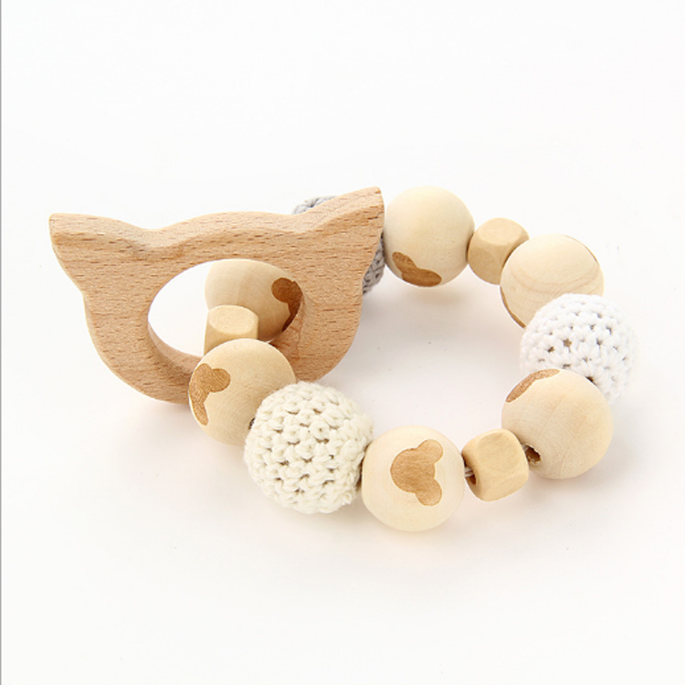 Bulk Baby Teething Teether Toy Teething Bangles Organic Wood Teether With Crochet Wooden Beads
