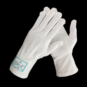 Embroidery Logo gloves custom 100% cotton freemason white gloves