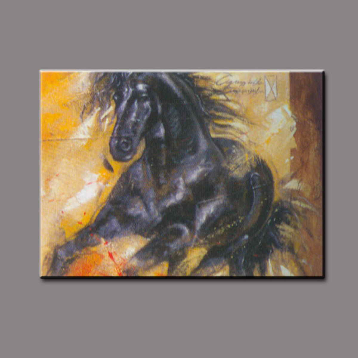 Handpainted impressionist canvas running black horse oil painting with frame