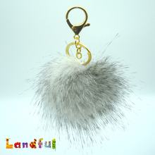 Novelty Wholesale Girl's Fashion Faux Fox Fur Pom Poms Accessories Plush Ever Tassel Keychain