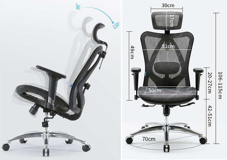 Commercio allingrosso sedia da ufficio ergonomica schienale alto