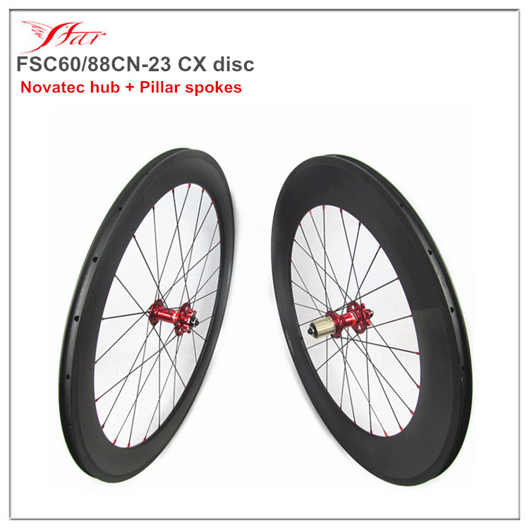 Cheap cyclcocross wheelset clincher 60mm front 88mm rear 700C, road bicycle wheels with red Novatec 6 bolts hub, 9*100/10*135mm